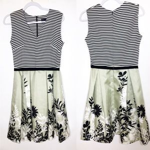 Just Taylor Fit and Flare Dress Floral and Stripes